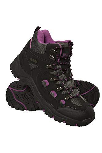 Mountain Warehouse Chaussures de randonnée Adventurer imperméables pour Femme - Robustes et Respirantes - Tige en synthétique et Doublure en Filet - Semelle coussinée Noir 39