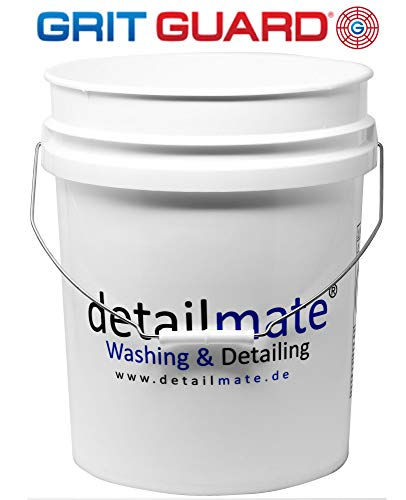 GritGuard Wasch Eimer 5 GAL (ca. 20 Liter) weiß, Detailmate GRIT Guard Wash Bucket 5 Gallon White Verstärkt, Extra Dicke Wandung, auch für Deckel Gamma Seal LID geeignet (Art. Nummer 20010101)