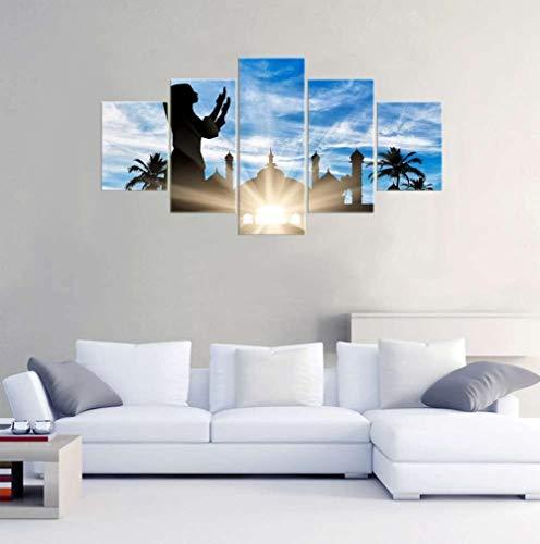 SSOOB Home Art lienzo pared arte impresiones mural Figuras islámicas cielo azul paisaje 100x50 CM Impresiónes sobre Lienzo 5 Piezas Wall Art Canvas 5 lienzos Moderno para Salon decoración hogar Cuadro