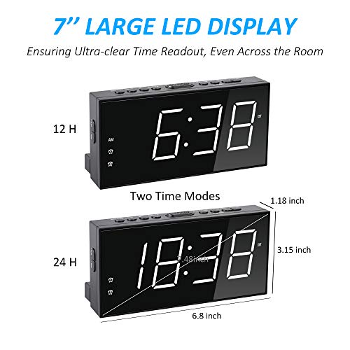 Digital Alarm Clock for Bedrooms, Dual Alarms 7'' Large LED Display Clock with USB Charger,5 Dimmer,4 Alarm Volume,12/24H, Simple Basic Plug in Loud Clock Battery Backup for Heavy Sleeper Kids Elderly Boy Girl Teen Home