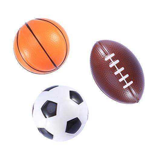 BESTOYARD 3 Stücke Mini Sportbälle Gastgeschenke Fußball Stress Ball Schaum Sportbälle für Kinder (Fußball, Basketball, Rugby)