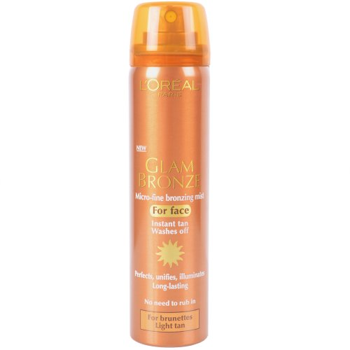 L'Oreal Glam Bronze Bronzing Mist for Face Instant Tan (Brunettes, Light Tan) 75ml