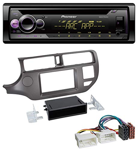 caraudio24 Pioneer DEH-S220UI 1DIN MP3 AUX USB CD Autoradio für Kia Rio UB 2011-2014 anthrazit
