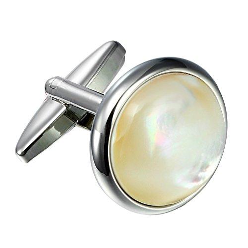Urban-Jewelry 316L en acier inoxydable Hommes boutons de manchettes ronds avec Real Shell (Argent)