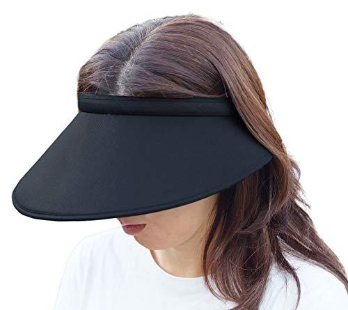 大きなつば 日除け UVカット サンバイザー 横が長く耳も紫外線から守ります。