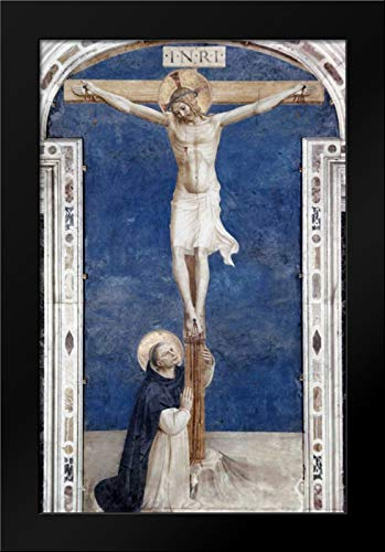 Angelico, Fra 17x24 Black Modern Framed Art Print Titled Crucifixcion with Saint Dominick