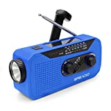 Emergency Weather AM/FM NOAA Solar Crank Radio with Bright Flashlight, 2000mAh Power Bank, Headphone Jack for Hazard Weather and Outdoor Activitives (Blue)