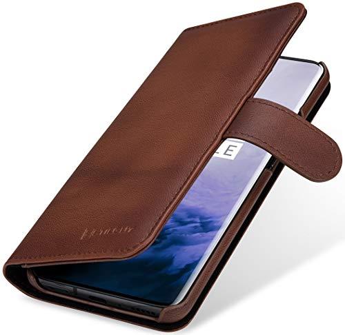 StilGut Hülle geeignet für OnePlus 7 Pro Lederhülle Brieftasche mit Karten-Fächern, braun antik