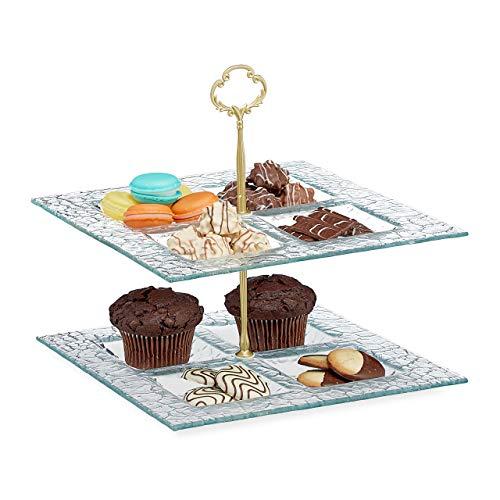 Relaxdays Etagere 2-stöckig, Snacks, Kekse & Muffins, eckig, Glas & Metall, Servierständer 27x26x26 cm, transparent/gold, 1 Stück