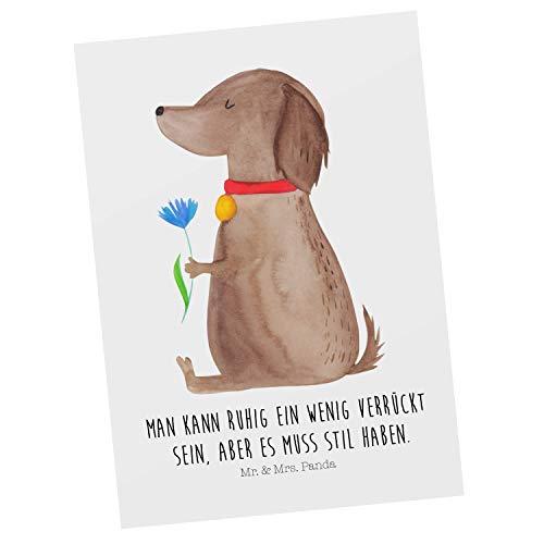 Mr. & Mrs. Panda Ansichtskarte, Karte, Postkarte Hund Blume mit Spruch - Farbe Weiß