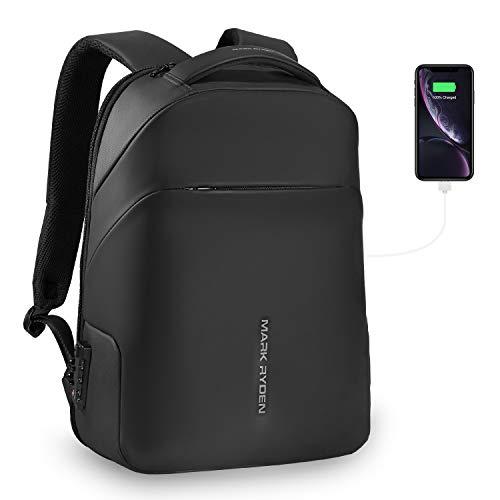 MARK RYDEN Anti-Diebstahl-Rucksack mit TSA Lock Laptop-Rucksack 15,6 Zoll mit Regenmantel für die Reiseschule