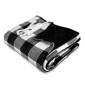 Navaris Manta eléctrica para hombros cuello y brazos - Poncho eléctrico con forma de U y mando - Manta térmica lavable - A cuadros y negra dentro