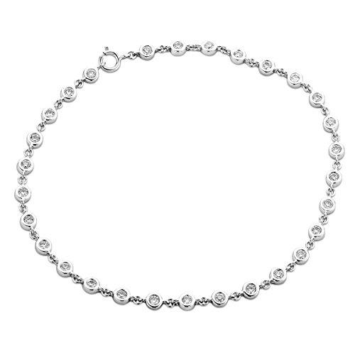 Miore Armband Damen 0.78 Ct Diamant Tennis Armband aus Weißgold 9 Karat / 375 Gold, Armschmuck mit Diamanten Brillianten 18 cm lang