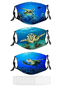 3-Pack Face Mask Hawksbill Sea Turtle Funny Masks for Adult