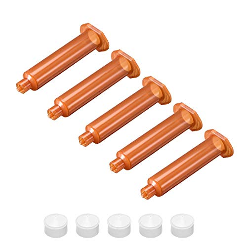 Manguito de tubo de jeringa de distribución de aire adhesivo marrón, 10 cc, 10 ml, con pistón para industrial, 5 unidades