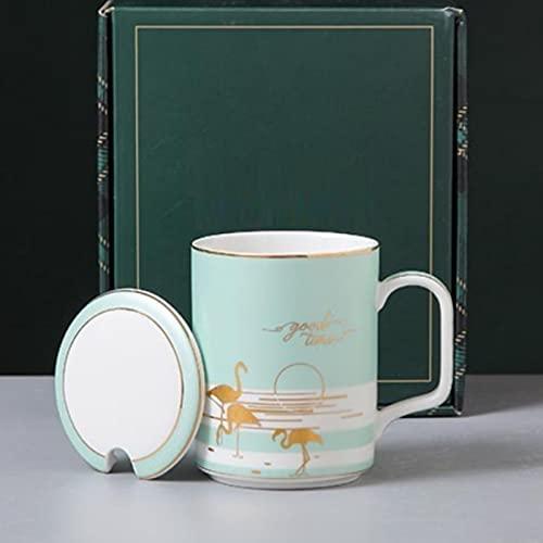 Nórdico helado taza de cerámica con taza de café dorado con tapa cuchara taza en casa oficina negocios taza de café desayuno leche taza A