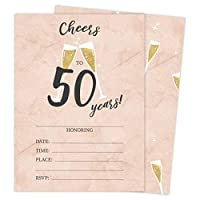 50th Birthday Style R Happy Birthday Invitations Invite Cards (25 Count) With Envelopes and Seal Stickers Vinyl Girls Boys Kids Party (25ct)
