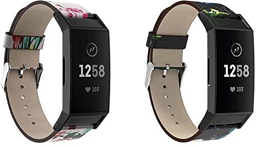 Classicase Quick Release - Compatible con Fitbit Charge 4 / Charge 4 SE/Charge 3 SE/Charge 3 Correas de Reloj Cuero (Pattern 2+Pattern 3)