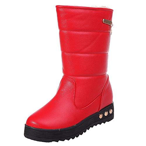 Honestyi Hiver Bottes Femmes Garder au Chaud Bottines Antidérapant étanche Chaussures de Outdoor Cuir et Velours Boots Casual Couleur Unie Bottes de Neige Winter Warm Shoes