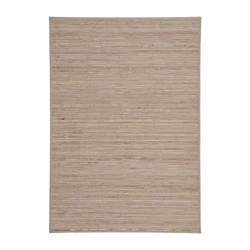 Alfombra Pasillera, Dormitorio o Salón de Madera Bambú(Natural con Efecto Lavado, 140 x 200 cm)