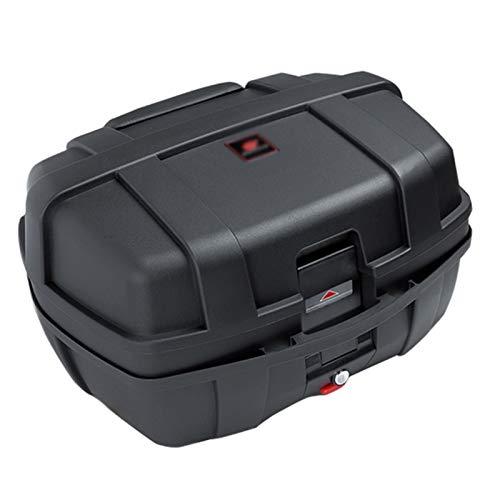 Baúl de Moto Universal, Scooter Maletero Bloqueo Superior Almacenamiento Impermeable Estuche Portador, con Respaldo Suave y Asa - Capacidad 47L - Puede Almacenar Dos (2) Cascos