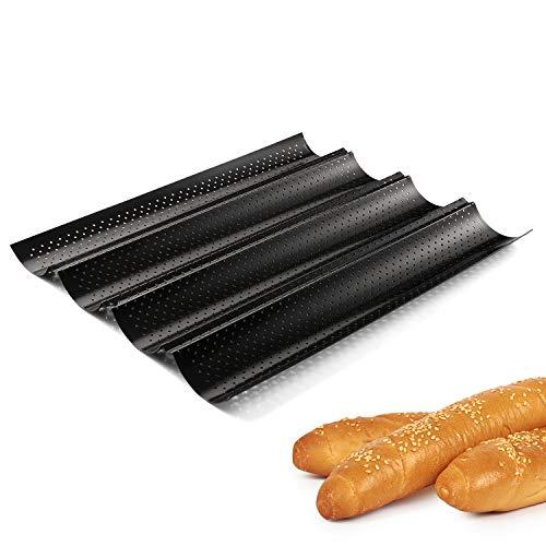 Moldes para Pan Antiadherente Bandeja de Horno Molde de Horno Superficie con Agujeros para 4 Baguettes Moldes de Horno para Baguettes/el levado/Tejas