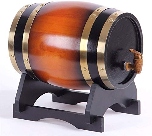 Barril de Madera, Cubo de almacenamiento de barril de roble, dispensador de agua Grifo de madera, adecuado para decorar bares u hogares, decoraciones de boda 1.5L / 3L / 5L / 10L vino, cerveza, sidra