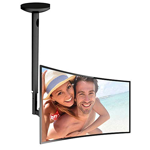 Adjustable Height TV Ceiling Mount - Swivel and Tilting Vertical VESA Universal Mounting Bracket, Mounts 14 to 42 Inch HDTV, LED, LCD, Plasma, Flat Screen Television Up to 30 KG - Pyle PCTVM15