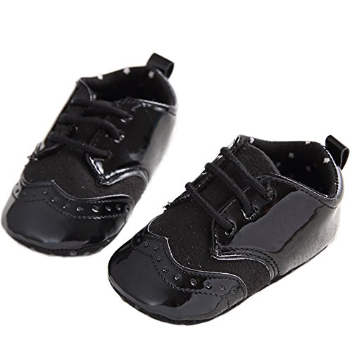 Baby Lace Up Brogue Shoes Medallion Wingtip Patent Leather Crib Dress Shoe Moccasins Black Size L