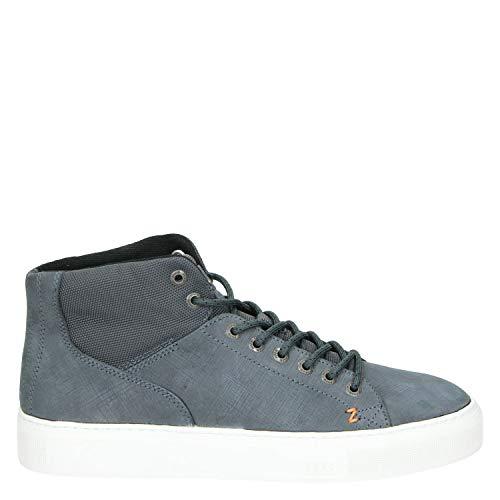 Hub Murrayfield 2.0 N33 Herren Mid Sneaker aus Nubukleder, blauem Stoff und weißer Gummisohle