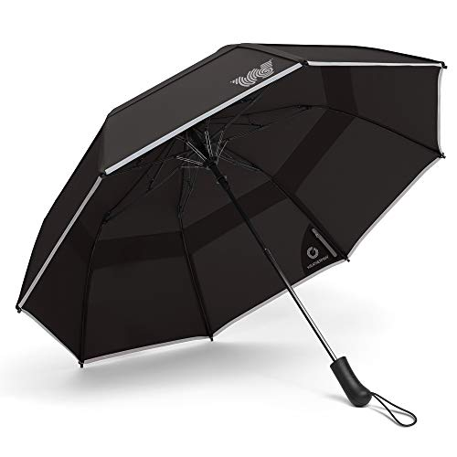 Weatherman Umbrella - Collapsible Umbrella - Windproof Umbrella Resists Up to 55 MPH Winds - Available in 8 Colors (Black)