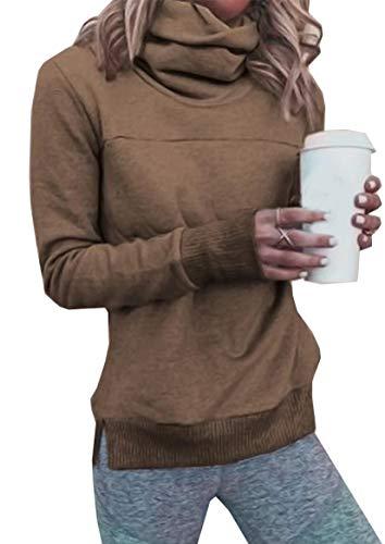 Ehpow Damen Kapuzenpullover High Neck Lang Tunika Hoodie Sweatshirt (Medium, A-Kaffee)