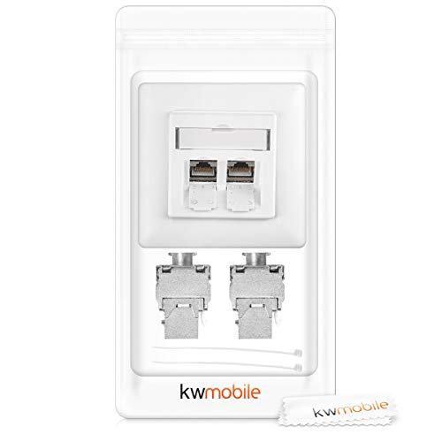 kwmobile Keystone Dose Modul Set - 8X Keystone Modul 4X Netzwerkdose CAT 6A Kabel - 10Gibt/s geschirmt Metall Gehäuse RJ45 Schnappverschluss