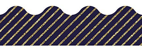 Carson Dellosa Decorative Sparkle and Shine Gold Glitter and Navy Stripe Scalloped Borders (108322)
