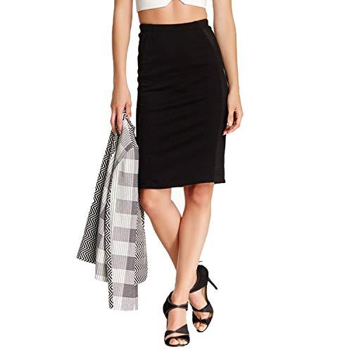Yoana Baraschi Womens Mesh Trim Pencil Skirt Black Small