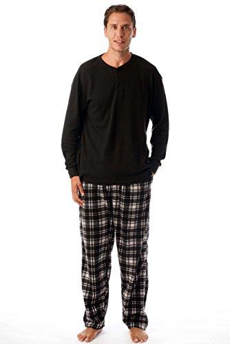 44909-13-L #FollowMe Pajama Set for Men with Thermal Henley Top and Polar Fleece Pants / Sleepwear / PJs Black L