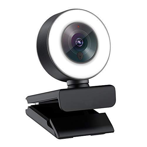 Angetube Full HD 1080p Webcam Luce ad Anello Regolabile Incorporata e Telecamera...