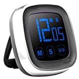 Digital Kitchen Timer Big Digits Loud Alarm Magnetic Backing Stand Large LCD Display, ON/Off Switch and Memory Recall Function, Count up Countdown Timer for Kids Baking Exercise Game(Battery Included)