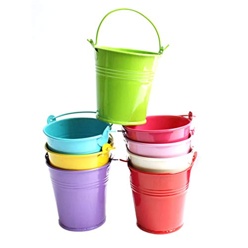 Yarnow 12 Piezas Mini Cubos de Metal Caja de Favores de Cubo de Dulces de Boda Cubo de Flores para Favores de Fiesta Baratijas de...