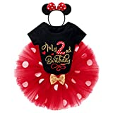 2nd Birthday Outfit for Toddler Girl Cake Smash First My Second Birthday Clothes for Baby Girls Polka Dots Two Romper Mini Tutu Skirt Dress Mouse Party Supplies Headband Princess Outfits Black 2T
