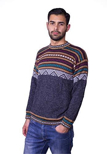 Raymis Alpaca Wool Hand Knitted Cuzco Men´s Round Neck Peruvian Sweater (Charcoal, Medium)