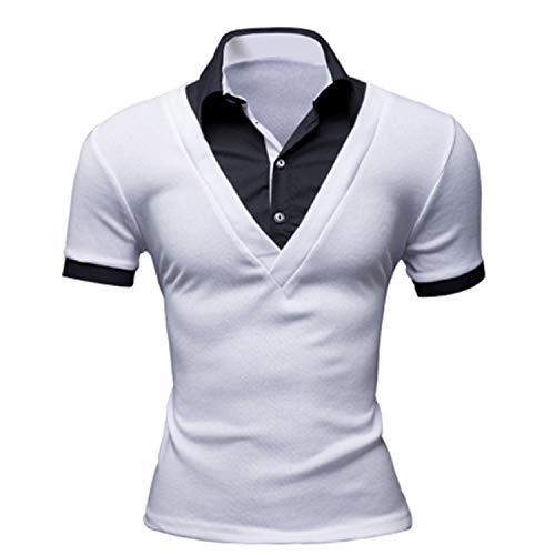AMBLY ポロシャツ メンズ Tシャツ カットソー 半袖 レイヤード襟付き ゴルフウェア トップス カジュアル コーデ 黒 紺 春 夏 秋 メンズファッション