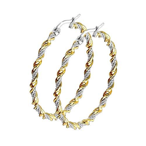 beyoutifulthings - 1 paio di orecchini da donna in acciaio chirurgico color oro e argento, 30/40/50 mm e Acciaio inossidabile, colore: metallic, cod. SE3549G-40