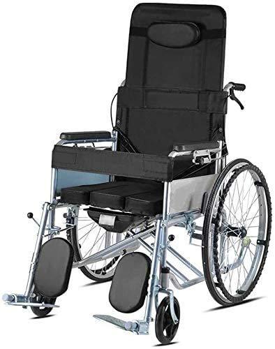 Silla de inodoro plegable de acero para mesilla de noche, asiento de transferencia móvil, respaldo ajustable, plegable, ligera, silla de ruedas portátil, reclinable, con asiento