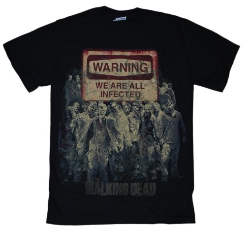T-Shirt - The Walking Dead - Warning All Are Infected,Large