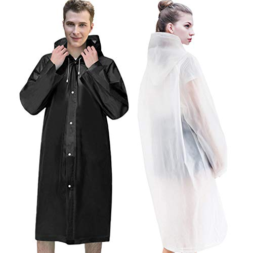 Raincoats for Adults, EVA Reusable Rain Ponchos , No Smell&Environmentally Friendly&Light Weight, Portable Rain Coat Perfect for Outdoor Activities, 2 Pack