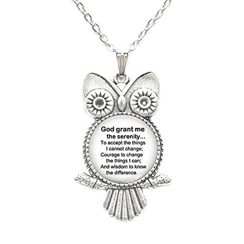 Collar de búho de oración de serenidad, joyas de oración de serenidad, joyas religiosas blancas y negras, collar de búho inspirador, PU032