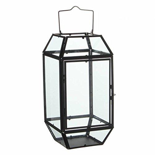 L'Héritier Du Temps Lantaarn om neer te zetten, lamp, 12 glazen ruiten, industriële stijl, windlicht, om op te hangen, ijzer en glas gepatineerd, zwart, 17,5 x 17,5 x 44,5 cm
