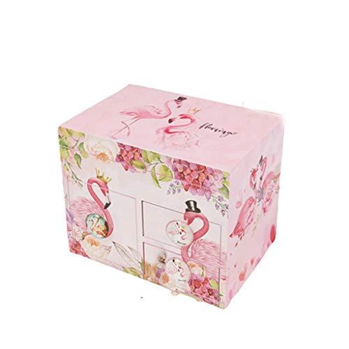 Kreative Spieluhr Hölzerne Aufbewahrungsbox Musical Schmuckschatulle mit Schubladen Uhrwerk Music Box for Mädchen Dressing Box Geburtstag spieluhr geschenk ( Color : Three drawers B