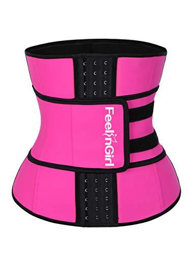 FeelinGirl Women's Latex Underbust Corset Waist Training Trainer Sport Girdle (Large, Pink1-Hooks)